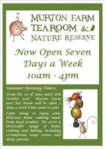 Opening hours tea room